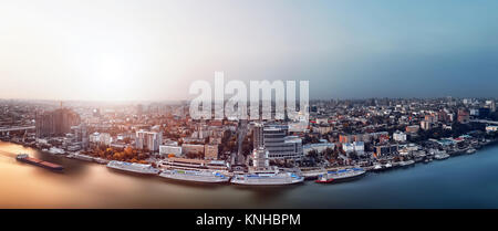 Panorama - sunset over city. Rostov-on-Don. Russia. aerial view, Panorama of the city - Stock Photo