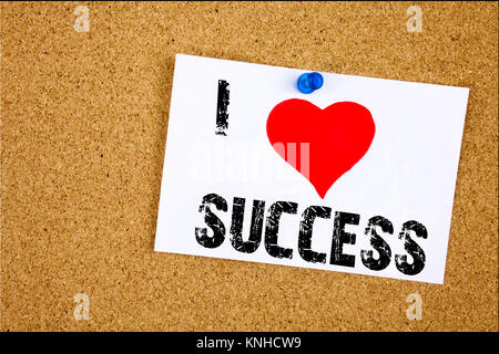 Hand writing text caption inspiration showing I Love Success concept meaning Victory Triumph Good Result Favourable - Stock Photo