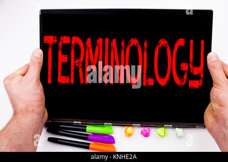 Terminology text written on tablet, computer in the office with marker, pen, stationery. Business concept for Medical - Stock Photo