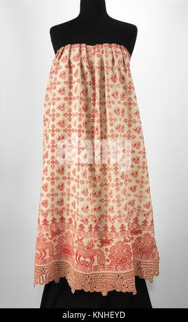 Apron. Date: 1830-70; Culture: Russian; Medium: linen, cotton; Credit Line: Brooklyn Museum Costume Collection at - Stock Photo