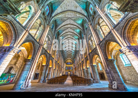 REIMS, FRANCE - NOVEMBER 19, 2017: Interior view of the Saint-Remi Basilica in Reims, France. - Stock Photo