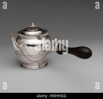 Teapot. Maker: I. C; Date: 1699-1700; Culture: French, Paris; Medium: Silver, ebony; Dimensions: H. 5-5/8 in. (14.3 - Stock Photo