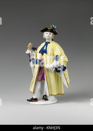 Masquerader (one of a pair). Factory: Meissen Manufactory (German, 1710-present); Modeler: Johann Joachim Kändler - Stock Photo
