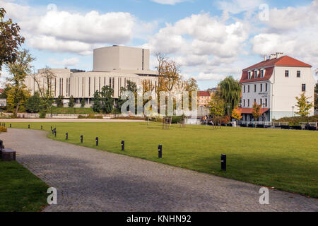 View of the opera nova / opera house in the Polish city of Bydgoszcz Poland from Mill Island - Stock Photo