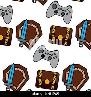 video game treasure chest shield sword control elements seamless pattern - Stock Photo