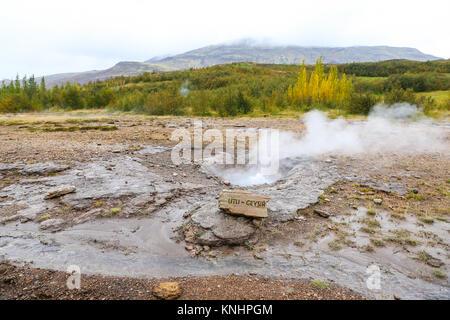 Little Geysir in Haukadalur Valley Area, Iceland - Stock Photo