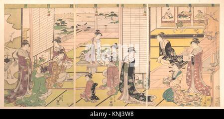 和歌三神図/Honoring the Three Gods of Poetry: Women Composing Poems. Artist: Chobunsai Eishi (Japanese, 1756 - Stock Photo