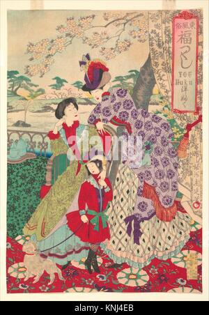 Western Clothing from the series An Array of Auspicious Customs of Eastern Japan (Azuma fuzoku, fukuzukushi-Yofuku). - Stock Photo