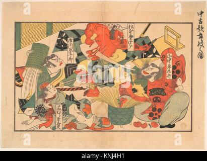 The Advent of a Demon; Scene from a Performance in an old Kabuki Theatre. Artist: Unidentified Artist; Period: Edo - Stock Photo