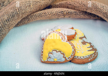 Set of romantic decorated gingerbread - Stock Photo