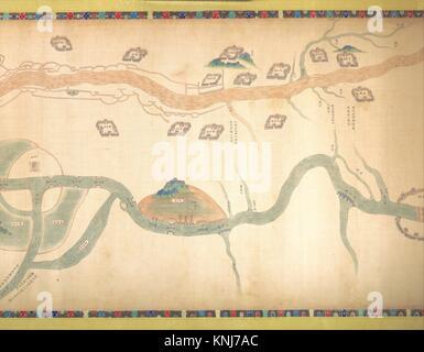 清 佚名 大運河地åœ- (從O—京至長江) o·/Map of the Grand Canal from Beijing to the Yangzi River. Artist: - Stock Photo