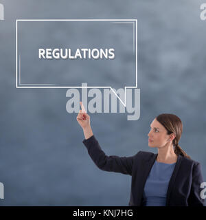 REGULATIONS Business Concept. Business Woman Graphic Concept - Stock Photo