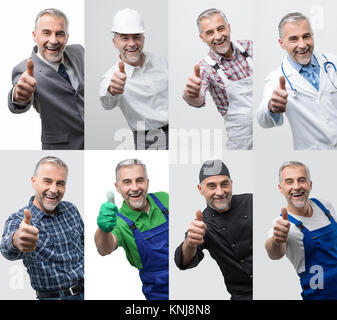 Collage of male smiling professional workers portraits, human resources and work concept - Stock Photo