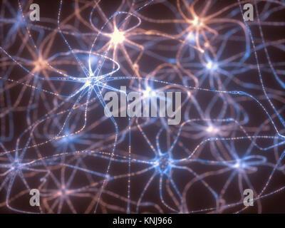 3D illustration of Interconnected neurons with electrical pulses. - Stock Photo