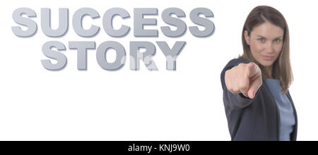 Business Woman pointing the text SUCCESS STORY CONCEPT Business Concept. - Stock Photo