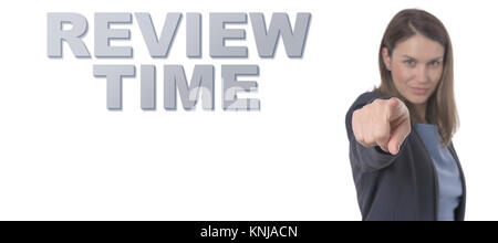 Business Woman pointing the text REVIEW TIME CONCEPT Business Concept. - Stock Photo