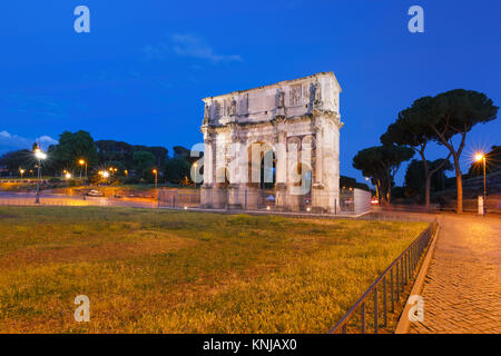 The Arch of Titus at night, Rome, Italy. - Stock Photo