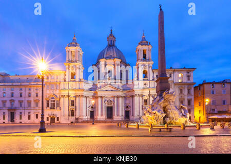 Piazza Navona Square at night, Rome, Italy. - Stock Photo