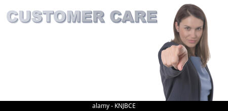Business Woman pointing the text CUSTOMER CARE Business Concept. - Stock Photo