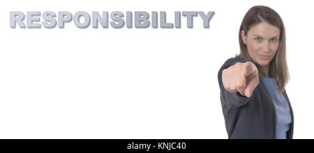 Business Woman pointing the text RESPONSIBILITY CONCEPT Business Concept. - Stock Photo