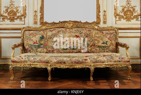Four upholstery panels for a settee. Factory: Beauvais; Designer: Jean-Baptiste Oudry (French, Paris 1686-1755 Beauvais); - Stock Photo
