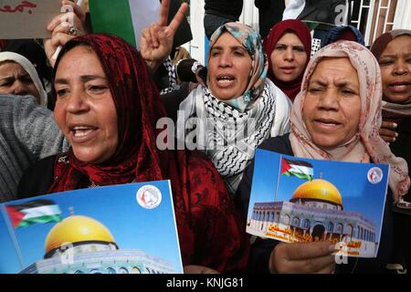 Gaza City, Gaza Strip, Palestinian Territory. 11th Dec, 2017. Palestinian women take part in a protest against US - Stock Photo