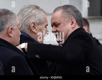 Bratislava, Slovakia. 12th Dec, 2017. Czech President Milos Zeman (center, left) visits Slovakia on December 12, - Stock Photo