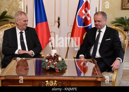 Bratislava, Slovakia. 12th Dec, 2017. Czech President Milos Zeman (left) visits Slovakia on December 12, 2017. This - Stock Photo