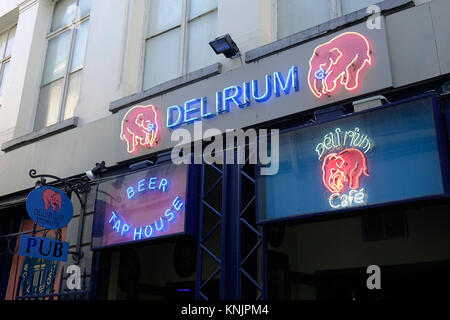 The outside of 'Délirium Café' at Impasse de la Fidélité 4 in the old town of the Belgian capital Brussels, pictured - Stock Photo