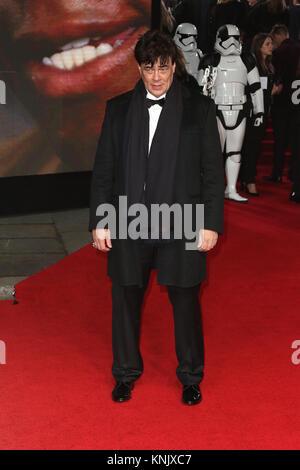 London, UK. 12th Dec, 2017. Benicio Del Toro, Star Wars: The Last Jedi - European Premiere, Royal Albert Hall, London - Stock Photo