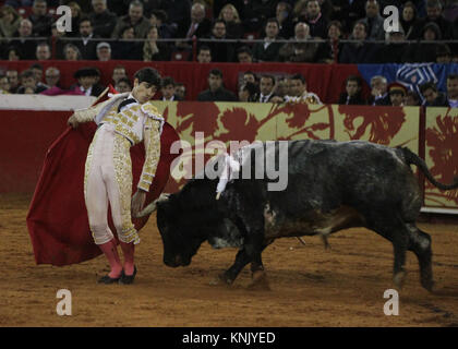 The Mexican bullfighter Luis Adame deals with his first bull of the afternoon 'Por Ti' of 498 Kg, during a charity - Stock Photo