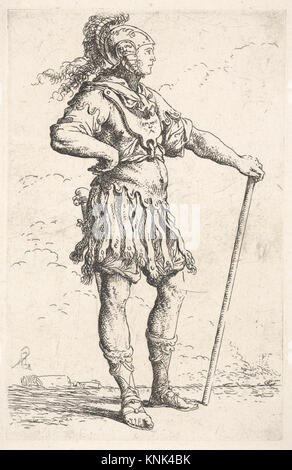 A warrior facing right wearing a plumed helmet and holding a staff, from the series 'Figurine' MET DP832607 397923 - Stock Photo