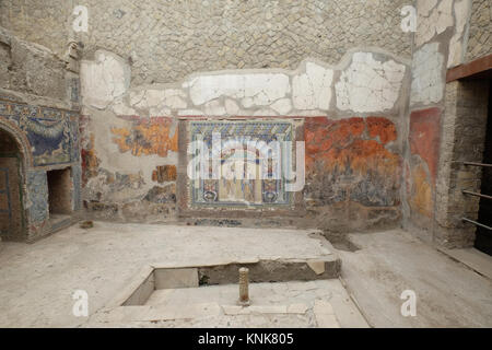 House of Neptun and Amfritites (Casa di Nettuno e Anfitrite), interior view, ruin,Herculaneum,Ercolano,Naples,Italy - Stock Photo