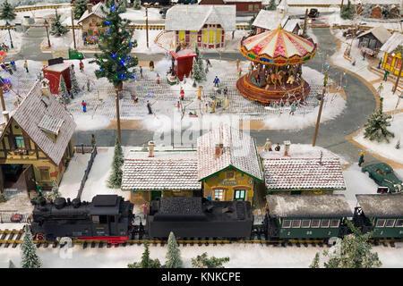 Scenic railway in shopping mall during Chrismas market Koln - Stock Photo