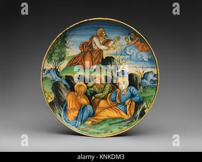Shallow bowl with The Agony in the Garden. Artist: Baldassare Manara (Italian, Faenza, active first half 16th century) - Stock Photo