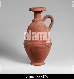 Terracotta jug. Period: Cypro-Archaic II; Date: 600-480 B.C; Culture: Cypriot; Medium: Terracotta; Dimensions: H. - Stock Photo