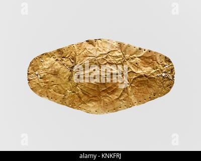 Gold leaf frontlet (band for forehead). Period: Archaic; Date: 7th-6th century B.C; Culture: Cypriot; Medium: Gold; - Stock Photo