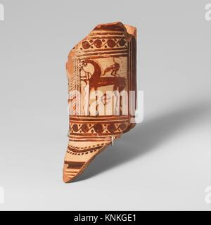 Fragment of a terracotta oinochoe (jug). Attributed to the Cesnola Painter; Period: Geometric; Date: ca. 750-740 - Stock Photo