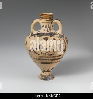 Terracotta amphoriskos (oil flask). Period: Late Corinthian; Date: ca. 575-500 B.C; Culture: Greek, Corinthian; - Stock Photo