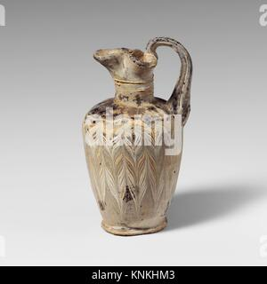Glass oinochoe (perfume jug). Period: Late Classical or Hellenistic; Date: mid-4th-early 3rd century B.C; Culture: - Stock Photo