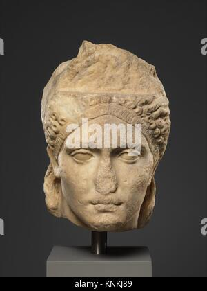 Over-life-sized marble portrait, probably of the empress Sabina. Period: Hadrianic; Date: ca. A.D. 121-128; Culture: - Stock Photo