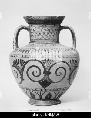Terracotta amphora (storage jar). Period: Archaic; Date: ca. 530 B.C; Culture: Rhodian (Fikellura); Medium: Terracotta; - Stock Photo
