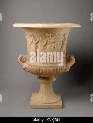 Marble calyx-krater with reliefs of maidens and dancing maenads. Period: Imperial; Date: 1st century A.D; Culture: - Stock Photo