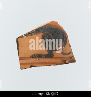 Fragment of a terracotta neck-amphora (jar). Period: Archaic; Date: 6th century B.C; Culture: East Greek, Clazomenian; - Stock Photo