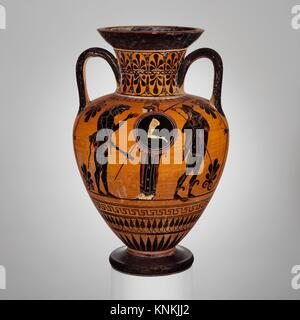 Terracotta neck-amphora (jar). Attributed to the Antimenes Painter; Period: Archaic; Date: ca. 520 B.C; Culture: - Stock Photo