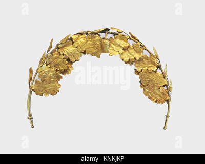 Gold funerary wreath. Period: Imperial; Date: 1st-2nd century A.D; Culture: Roman; Medium: Gold; Dimensions: Other: - Stock Photo