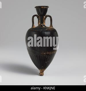 Terracotta amphoriskos (oil flask). Period: Late Classical; Date: 4th century B.C; Culture: Greek, Attic; Medium: - Stock Photo