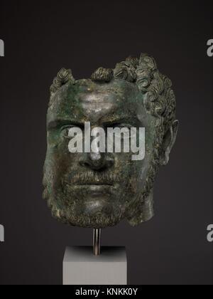 Fragmentary bronze portrait of the emperor Caracalla. Period: Mid-Imperial, Severan; Date: ca. A.D. 212-217; Culture: - Stock Photo