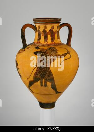 Terracotta neck-amphora (jar). Attributed to a painter of the Princeton Group; Period: Archaic; Date: ca. 540-530 - Stock Photo