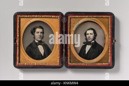 [Double Plate: Two Men with Sideburns]. Artist: Possibly by John Adams Whipple (American, 1822-1891); Date: 1850s; - Stock Photo